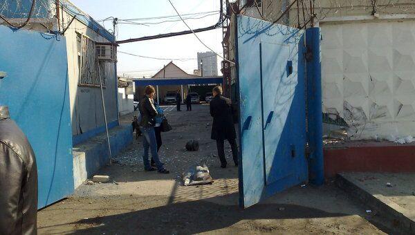 Место взрыва у здания ГИБДД в Волгограде