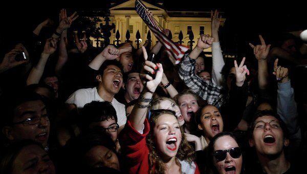 Митинг перед Белым домом после новостей о ликвидации бен Ладена