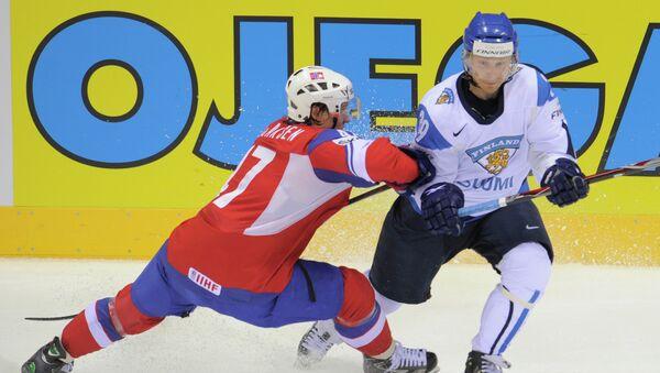 Игровой момент матча Финляндия - Норвегия