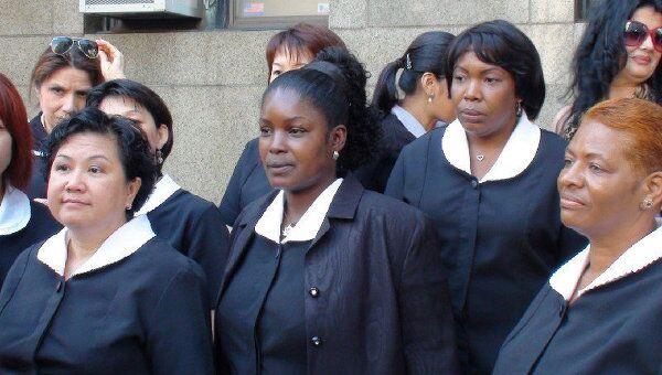Акция протеста горничных Нью-Йорка у здания уголовного суда на Центр-стрит