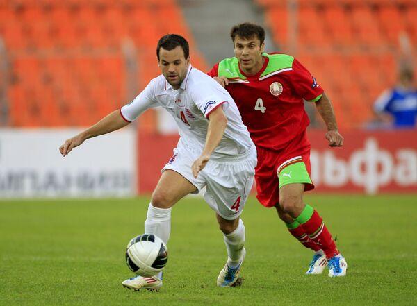 Игровой момент матча Белоруссия - Люксембург