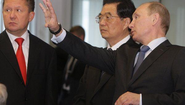 Премьер-министр РФ Владимир Путин провел встречу с председателем КНР Ху Цзиньтао