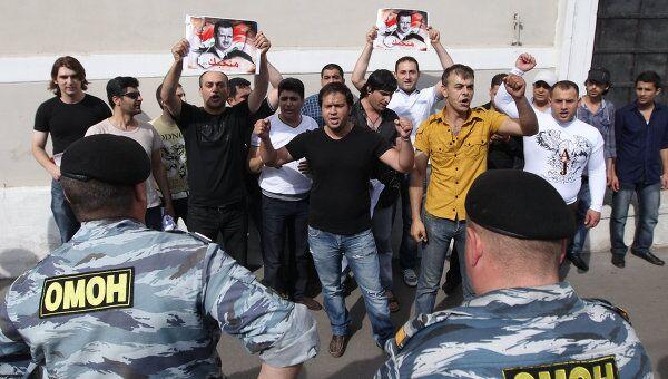 Акция сторонников президента Сирии на Зубовском бульваре в Москве