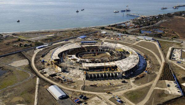 Строительство олимпийских объектов в Сочи. Вид с вертолета