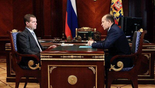 Встреча президента РФ Дмитрия Медведева с директором Федеральной службы безопасности РФ Александром Бортниковым