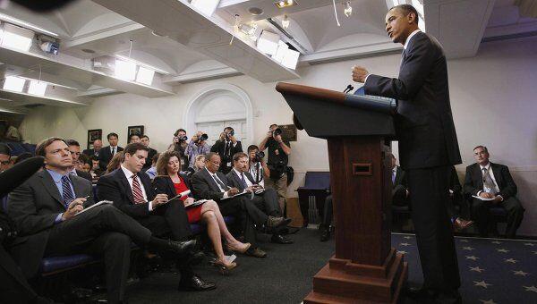 Барак Обама на брифинге в Белом доме