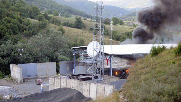 Пожар на контрольно-пропускном пункте Ярине на административной границе Сербии и края Косово