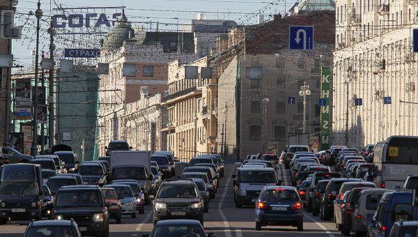 Движение транспорта в Москве. Архив