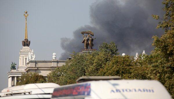 Пожар в павильоне на ВВЦ в Москве