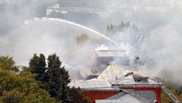 Пожар в бизнес-центре на Можайском шоссе в Москве