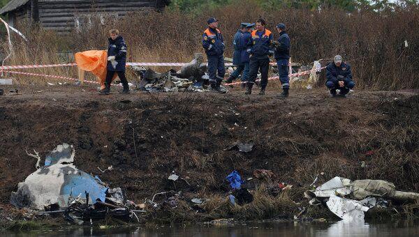 На месте крушения самолета Як-42 в поселке Туношна продолжаются работы