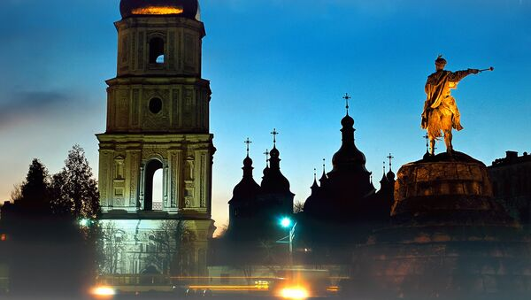 Софийский собор и памятник Богдану Хмельницкому в Киеве. Архивное фото