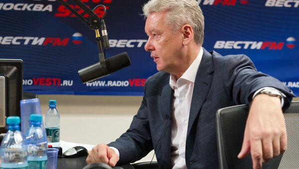 Сергей Собянин дает интервью радиостанции Вести ФМ