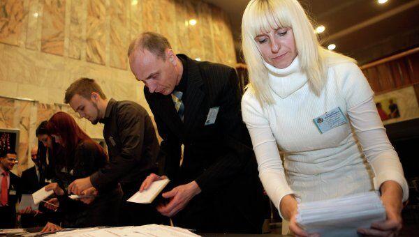 Подсчет голосов на выборах в Латвии