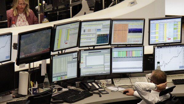 Работа франкфуртской фондовой биржи в Германии . Архив