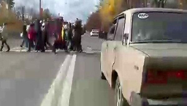 Обманутые дольщики перекрыли автомобильное движение в Ногинске