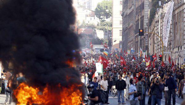 Акция протеста против экономической политики властей в Италии
