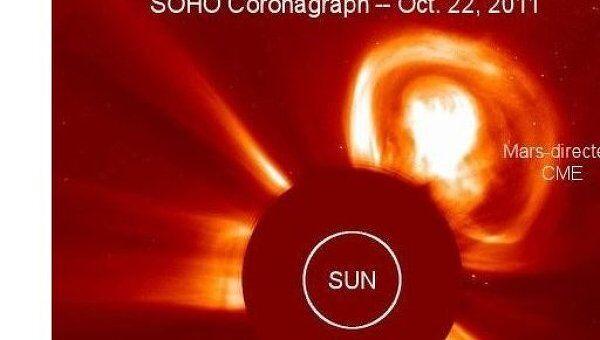 Корональный выброс на Солнце 22 октября