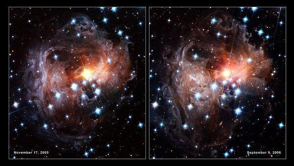 Бублик пыли у черной дыры, «подсвеченный» светом сверхновой V838 Monocerotis