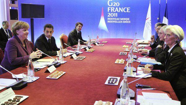 Европейские лидеры на саммите G20 в Канне, где проходит референдум по проекту европейской помощи Греции