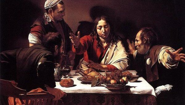 Картина Караваджо Ужин в Эммаусе