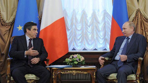 Встреча премьер-министра РФ Владимира Путина с Франсуа Фийоном в Москве