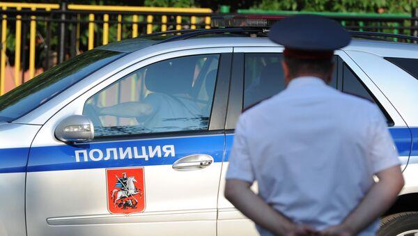 Полицейский автомобиль и сотрудник полиции, архивное фото.