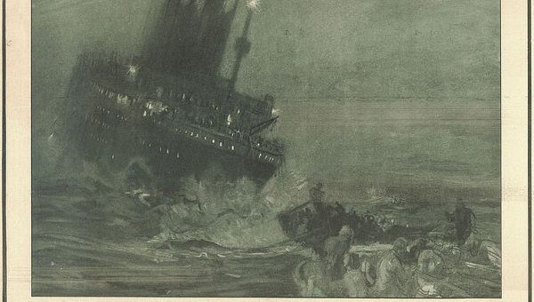 Открытка Титаник тонет