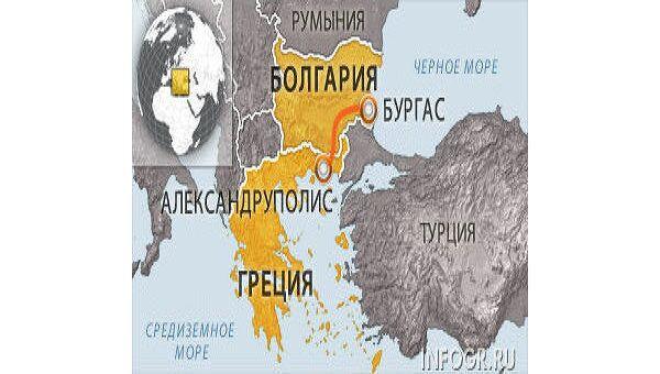 Карта проекта Бургас-Александруполис