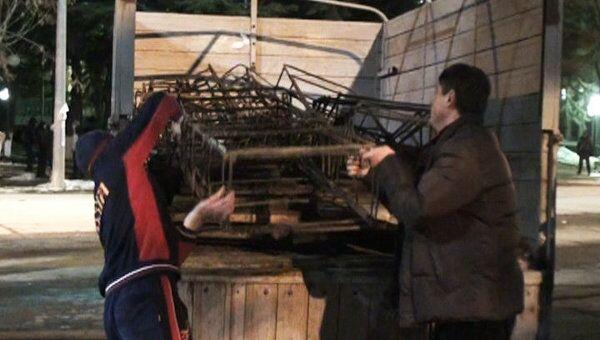 Сторонники Джиоевой сворачивают лагерь в центре Цхинвали
