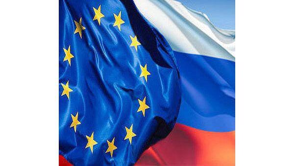Флаг России и Евросоюза