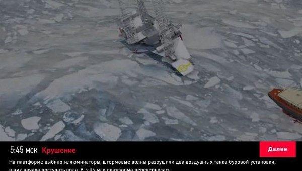 Реконструкция крушения буровой платформы Кольская в Охотском море