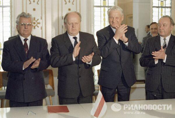Кравчук, Шушкевич и Ельцин