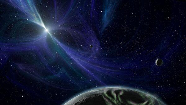 Пульсар и вращающаяся вокруг него планета PSR B1257+12 глазами художника