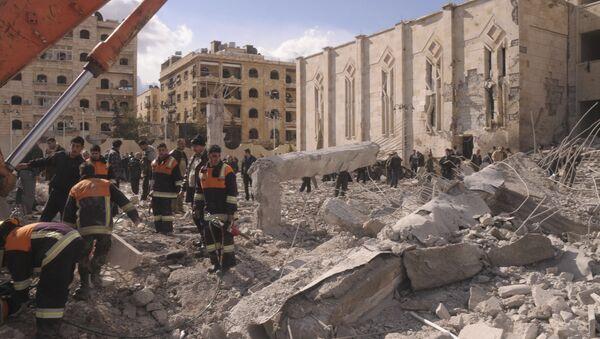 Последствия терракта в сирийском городе Алеппо