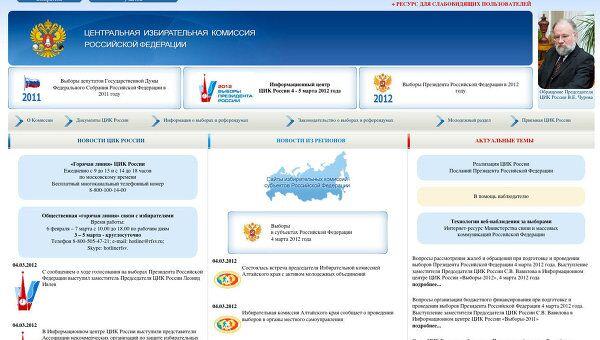 Сайт Центральной избирательной комиссии РФ