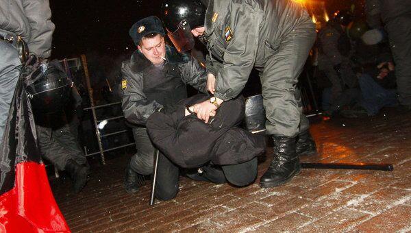Задержание участников митинга на Пушкинской площади.