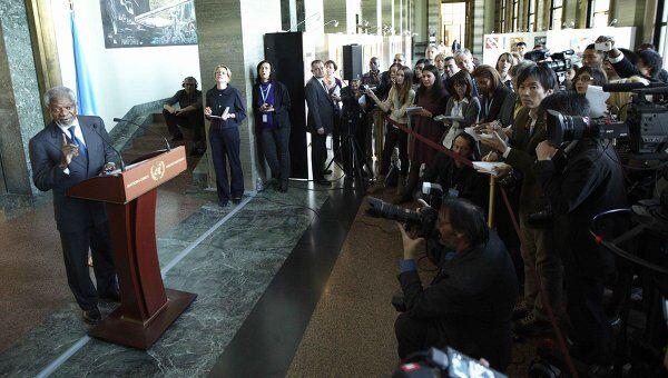 Выступление после закрытого брифинга Кофи Аннана для представителей 15 государств СБ ООН