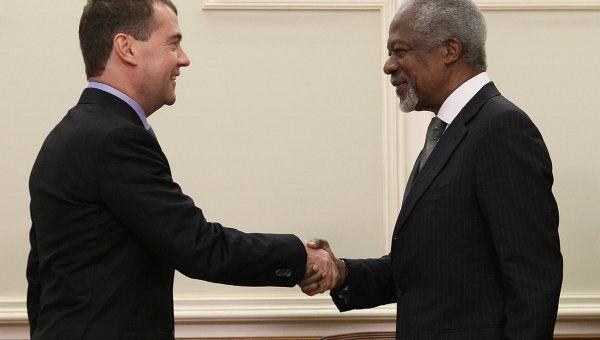 Встреча Д. Медведева и К. Аннана в Москве