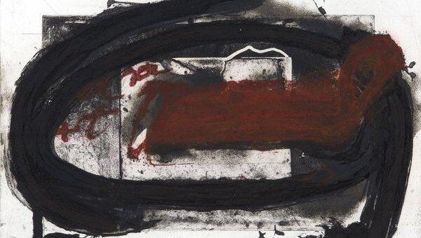 Антони Тапиес (1923 - 2012) Овальный и красный.  1987, офорт на меди