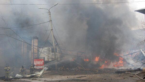 Пожар на складе с пиротехникой в Чите