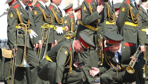 Репетиция Сводного военного оркестра к параду Победы