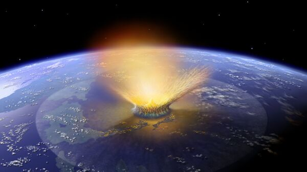 Падение астероида диаметром в 10 километров на Землю глазами художника