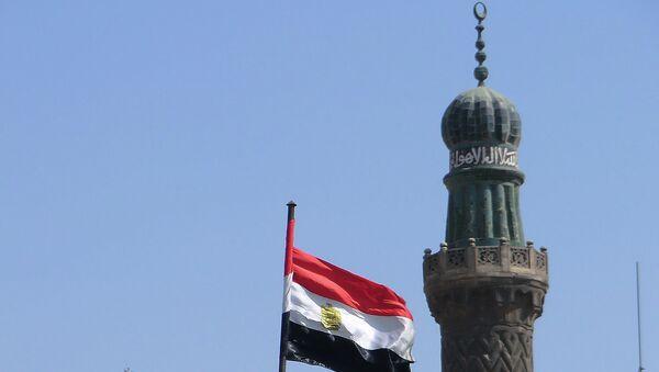 Египетский флаг на фоне мечети. Архивное фото