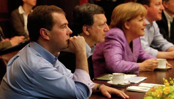 Главы G8 смотрят футбольный матч Челси - Бавария