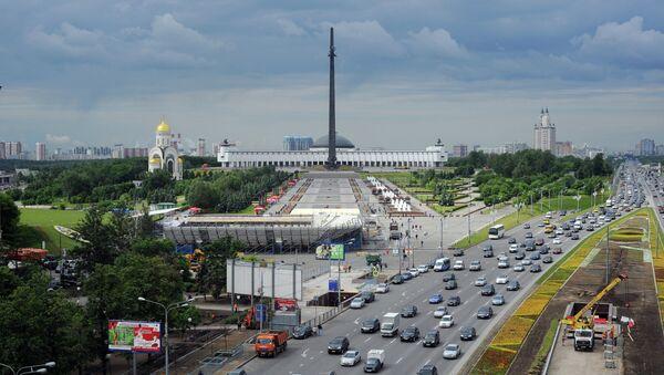 Вид на мемориальный комплекс на Поклонной горе и Кутузовский проспект. Архивное фото