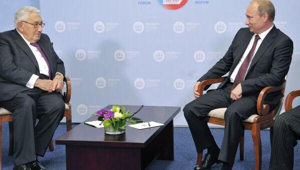 Встреча В.Путина и Г.Киссинджера в Санкт-Петербурге
