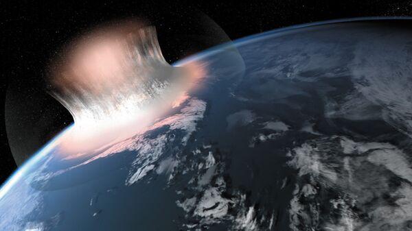 Так художник представил себе последствия падения астероида диаметром в 30 километров на Землю