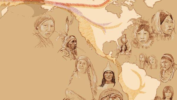 Карта миграции предков индейцев, эскимосов и алеутов, составленная по различиям в их геномах их потомков