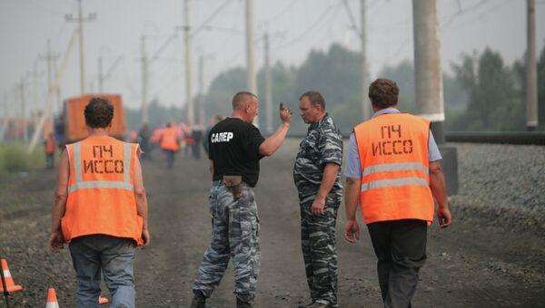 Место возгорания военного эшелона в Новосибирской области